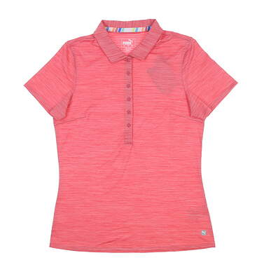 New Womens Puma Sheer Stripe Polo Small S Rapture Rose 595826 06 MSRP $60