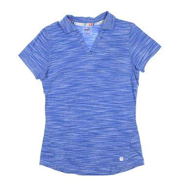 New Womens Puma Heather Slub Polo Small S Palace Blue 595824 05 MSRP $60