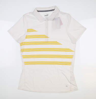 New Womens Puma Step Stripe Polo Small S Bright White 595480 MSRP $60