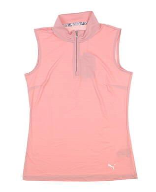 New Womens Puma Sleeveless Mock Golf Polo Small S Bridal Rose 577929 MSRP $50