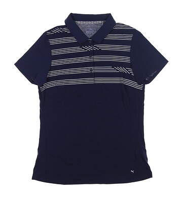 New Womens Puma On Par Golf Polo Small S Peacoat 595139 01 MSRP $60