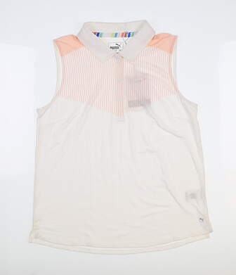 New Womens Puma Verticals Sleeveless Polo Small S White 596675 04 MSRP $55