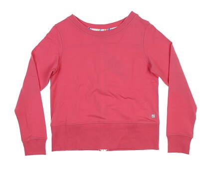 New Womens Puma Crewneck Zip Fleece Small S Pink 595849 MSRP $72