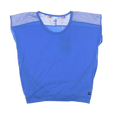 New Womens Puma Slouchy T-Shirt Small S Palace Blue 595839 03 MSRP $50