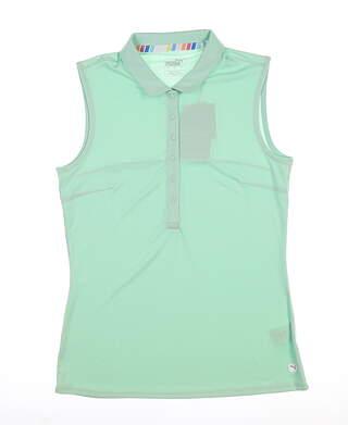 New Womens Puma Rotation Sleeveless Polo Small S Mist Green 595823 06 MSRP $45