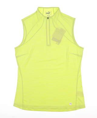 New Womens Puma Daily Golf Sleeveless Polo Small Sunny Lime 595829 MSRP $55