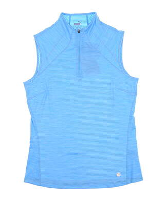 New Womens Puma Daily Golf Sleeveless Polo Small Ethereal Blue 595829 MSRP $55