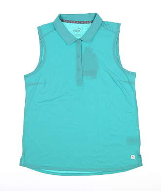 New Womens Puma Flow Sleeveless Golf Polo Small S Turquoise 595140 MSRP $55