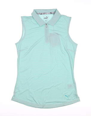 New Womens Puma Checker Sleeveless Polo Small S Blue Turquoise 577930 MSRP $55