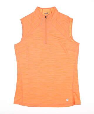 New Womens Puma Daily Golf Sleeveless Polo Small S Cantaloupe 595829 MSRP $55