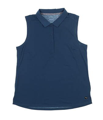 New Womens Puma Flow Sleeveless Golf Polo Small Gibraltar Sea 595140 MSRP $55