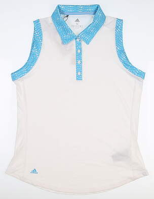 New Womens Adidas Ultimate Sleeveless Polo Medium M White MSRP $60 DU7895