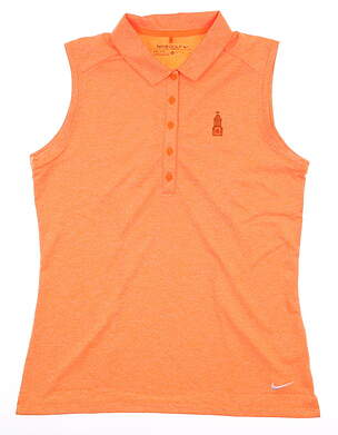 New W/ Logo Womens Nike Sleeveless Golf Polo Medium M Orange MSRP $76