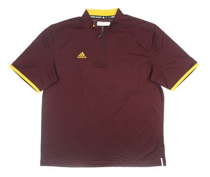 New Mens Adidas Golf Polo Maroon Large MSRP $65