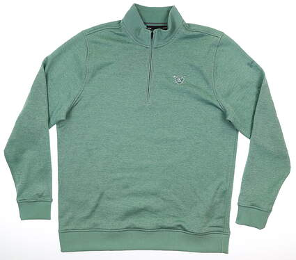 New W/ Logo Mens Under Armour 1/2 Zip Golf Pullover Large L Green MSRP $80