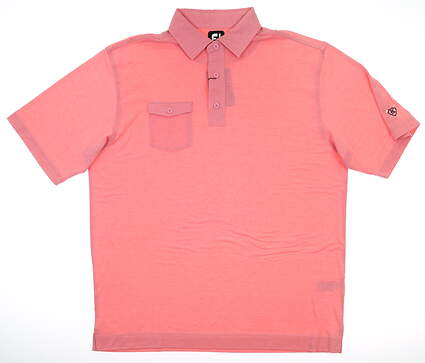 New W/ Logo Mens Footjoy Golf Polo Large L Pink MSRP $80 22839