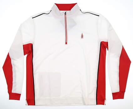 New W/ Logo Mens Footjoy Wind Shell Large L White/Red MSRP $135 24685