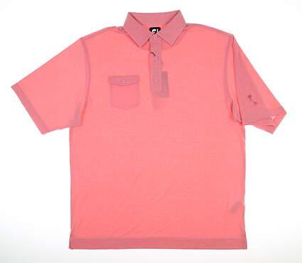 New W/ Logo Mens Footjoy Spun Poly Polo Large L Pink MSRP $79 22839