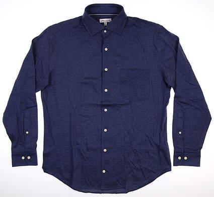 New Mens Peter Millar Button Up Medium M Blue MSRP $125 MF19W42CSL