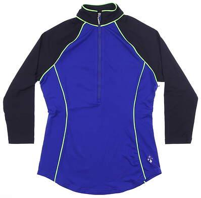 New Womens Jo Fit 3/4 Sleeve Raglan Polo XX-Small XXS Blue MSRP $80 GT127-BBY