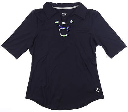 New Womens Jo Fit Lace Up Half Sleeve Polo X-Small Navy Blue MSRP $84 GT130-MDN