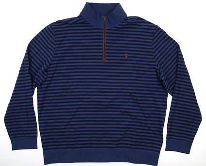 New Mens Ralph Lauren Biltmore 1/4 Zip Pullover XX-Large XXL Navy Blue MSRP $150