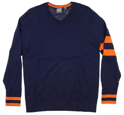New Mens Puma Lux Sweater Medium M Peacoat MSRP $80 596812 01