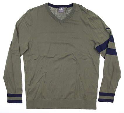 New Mens Puma Lux Sweater Medium M Deep Lichen Green MSRP $80 596812 02