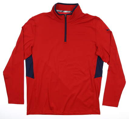 New Mens Puma Rotation 1/4 Zip Pullover Medium Barbados Cherry MSRP $65 577900 21
