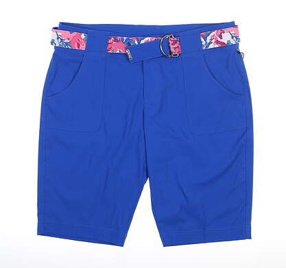 New Womens Jo Fit Belted Bermuda Shorts 12 Blue MSRP $94 GB517-NTB