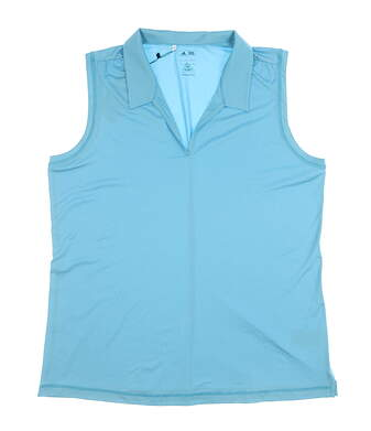 New Womens Adidas Sleeveless Polo X-Large XL Blue MSRP $60 Z85126