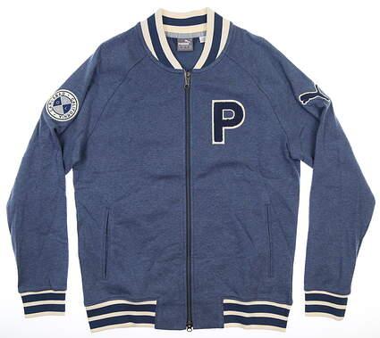 New W/ Logo Mens Puma Varsity Fleece Jacket Medium Dark Denim MSRP $180 595798