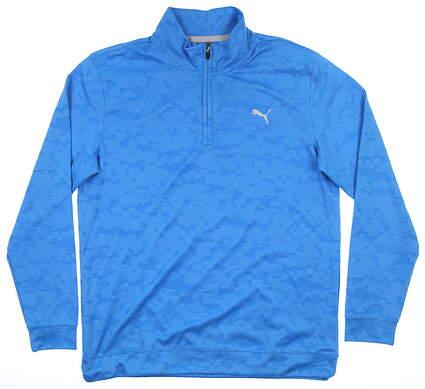 New Mens Puma Digi Camo 1/4 Zip Pullover Medium M Ibiza Blue MSRP $85 595806