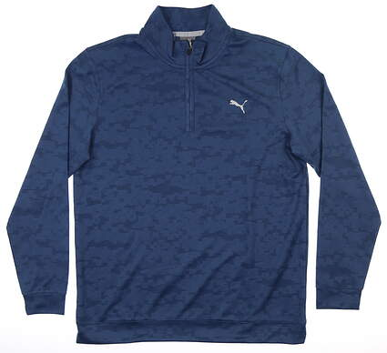New Mens Puma Alterknit Digi Camo 1/4 Zip Pullover Medium M Blue MSRP $85 595806 03