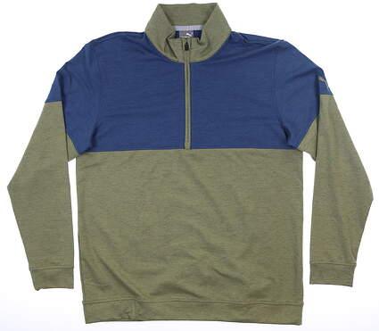 New Mens Puma Warm Up 1/4 Zip Pullover Medium Deep Green/Dark Denim MSRP $75 595803 05