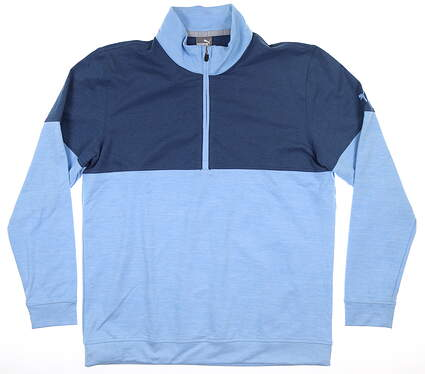 New Mens Puma Warm Up 1/4 Zip Pullover Medium Blue Bell/Dark Denim MSRP $75 595803