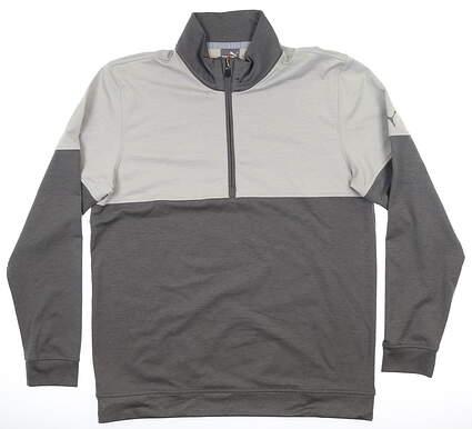 New Mens Puma Warm Up 1/4 Zip Pullover Medium M Grey/Charcoal MSRP $75 595803 03