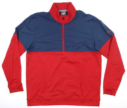 New Mens Puma Warm Up 1/4 Zip Pullover Medium Chery/Dark Denim MSRP $75 595803 06