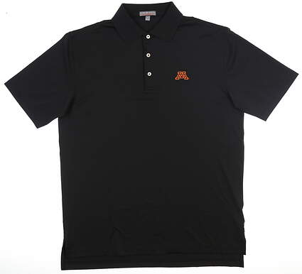 New W/ Logo Mens Peter Millar University of Minnesota Polo Medium Black MSRP $89