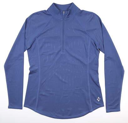 New Womens Jo Fit 1/4 Zip Pullover Medium M Indigo MSRP $100 UT232-IDO
