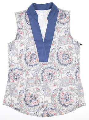 New Womens Jo Fit Dixie Sleeveless Polo Medium M Multi MSRP $86 GT310-DXP