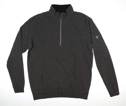 New W/ Logo Mens Straight Down 1/4 Zip Sweater Large L Gray MSRP $120