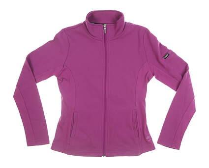 New W/ Logo Womens Straight Down Full Zip Mock Neck Medium M Purple MSRP $120 W60118