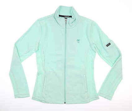 New W/ Logo Womens Straight Down 1/4 Zip Pullover Medium Green MSRP $125 W60118