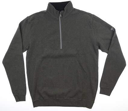 New W/ Logo Mens Straight Down 1/2 Zip Pullover Medium M Gray MSRP $120 60270