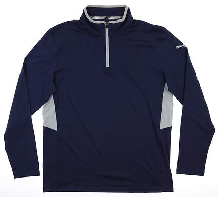 New Mens Puma Rotation 1/4 Zip Pullover Medium M Navy Blue MSRP $80 577900 04