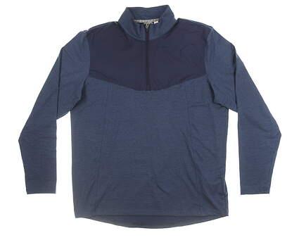 New Mens Puma Preston 1/4 Zip Pullover Large L Peacoat MSRP $80 595120 03