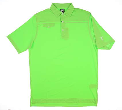 New W/ Logo Mens Footjoy Polo Large L Green MSRP $75 21545