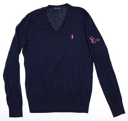 New W/ Logo Womens Ralph Lauren Sweater Small S Navy Blue MSRP $128