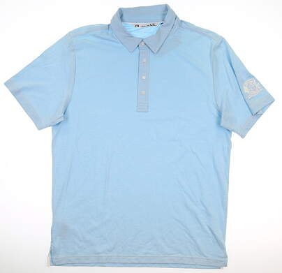 New W/ Logo Mens Travis Mathew Crenshaw Polo Large L Sky Blue MSRP $70 1MH190